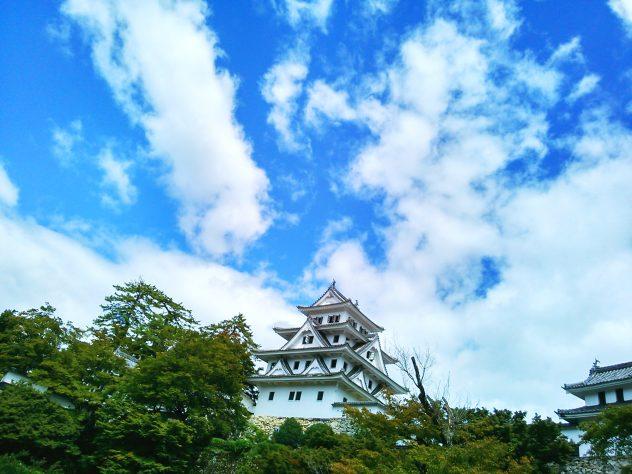gujohachiman castle blue sky